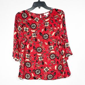 J. Jill Red Floral Printed Blouse 1/2 Sleeve Sz S